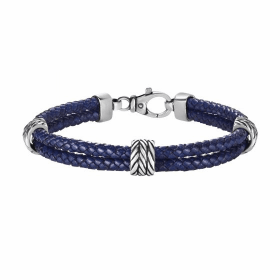 Silver Textured 2-strand Woven Blue Leather Bracelet