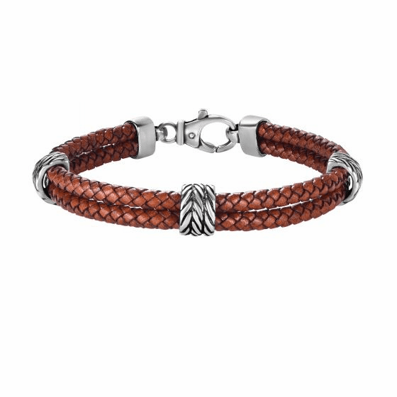Silver Textured 2-strand Woven Brown Leather Bracelet