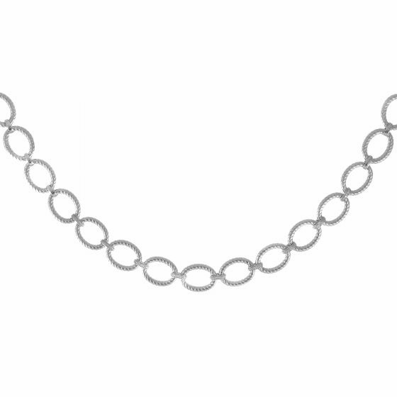 Silver Textured Italian Cable 18 Inch Large Oval Link Diamond Necklace