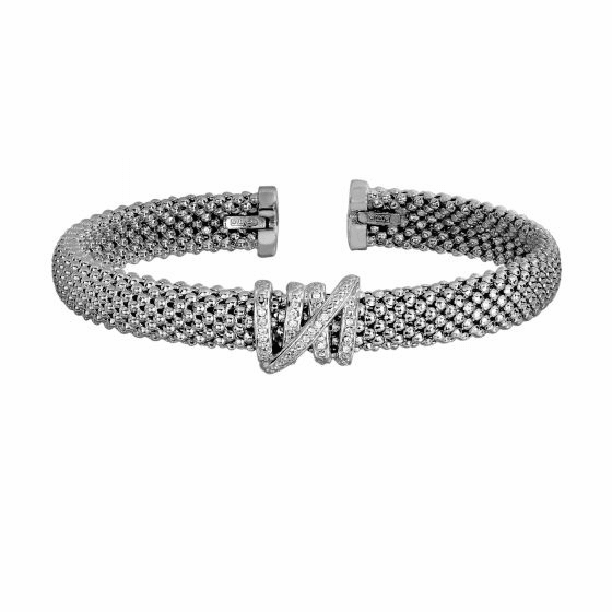 Silver Textured Popcorn Tally Cuff Bangle with Diamond