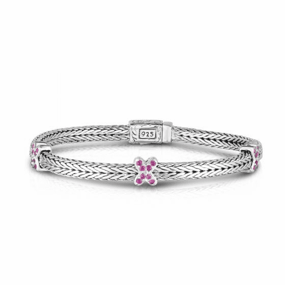 Silver Textured Square X-Stationed Woven Bracelet & Pink Sapphire