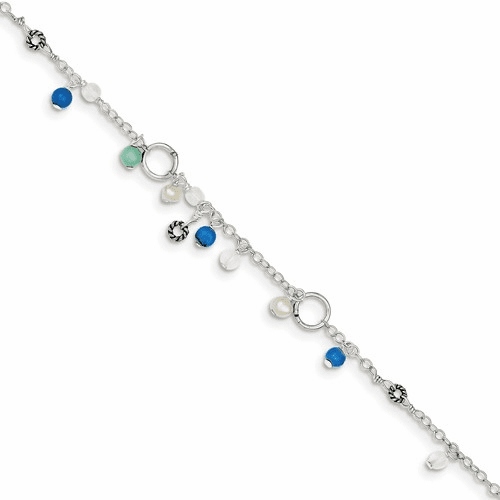 Silver Turquoise/clear Bead/fw Cultured Pearl Anklet Blt Qg1392-9