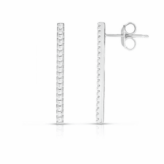 Silver Vertical Post Bar Earring with 0.3600ct Round Clear CZ