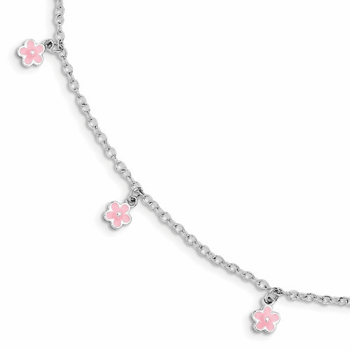 Silver W/ 1.5in Ext Pink Enamel Flower Kid's Bracelet
