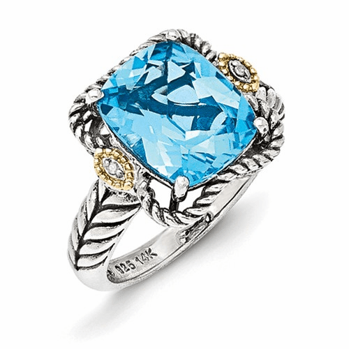Silver W/14k Antiqued Lt Swiss Blue Topaz And Diamond Ring