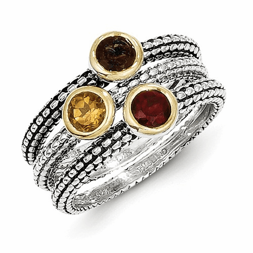Silver W/ Flash Gp Garnet/citrine/smoky Quartz 3 Stackable Ring