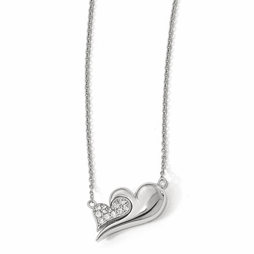Silver  W/sapphire Magnetic Double Heart Adjustable Necklace QPA110