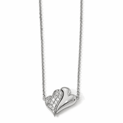 Silver  W/sapphire Magnetic Double Heart Adjustable Necklace QPA111