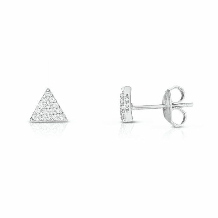 Silver White Geometric Post Fancy Earring with 0.1500ct Round White CZ