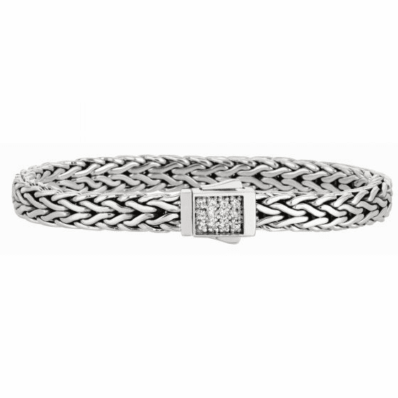 Silver Wide Woven Bracelet with Square Box Clasp with White Sapphires