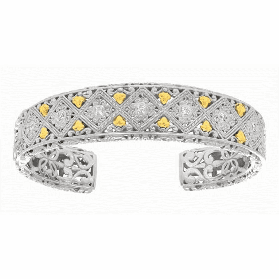 Silver with 18kt Gold Byzantine Curved Design Cuff with Diamond