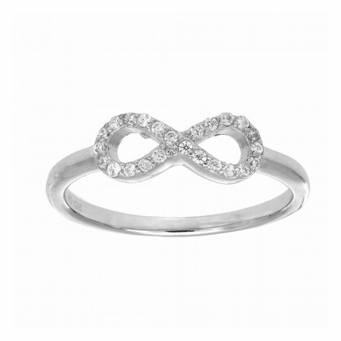 Silver with Rhodium 1.7mm All Figure # 8 Top Ring with White Stone