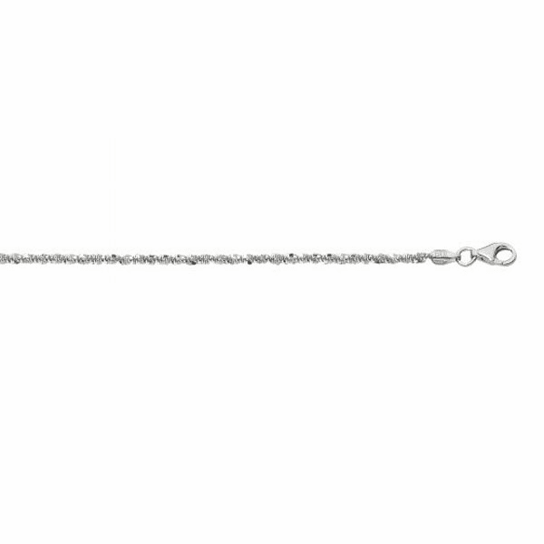 """Silver with Rhodium 24"""" 1.5mm Diamond Cut Sparkle Chain with Lobster"""
