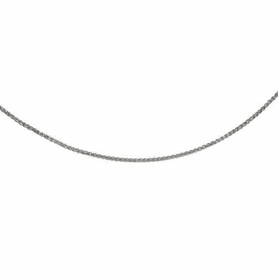 Silver with Rhodium Diamond Cut Wheat Necklace with Lobster Clasp