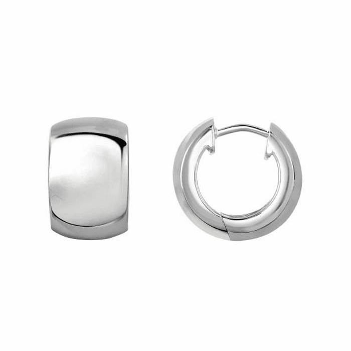 Silver with Rhodium Finis High Polished Round Snug Gable Type Earring
