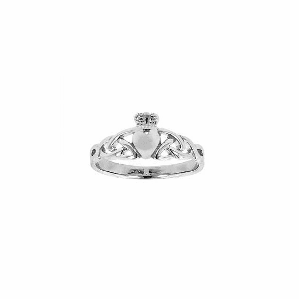 Silver with Rhodium Finish 2.55mm Shiny Textured Claddagh Celtic Ring