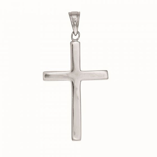 Silver with Rhodium Finish 2.55X17X36mm Shiny Casted Cross Pendant