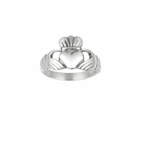 Silver with Rhodium Finish 2.60mm Shiny Claddagh Size 7 Ring