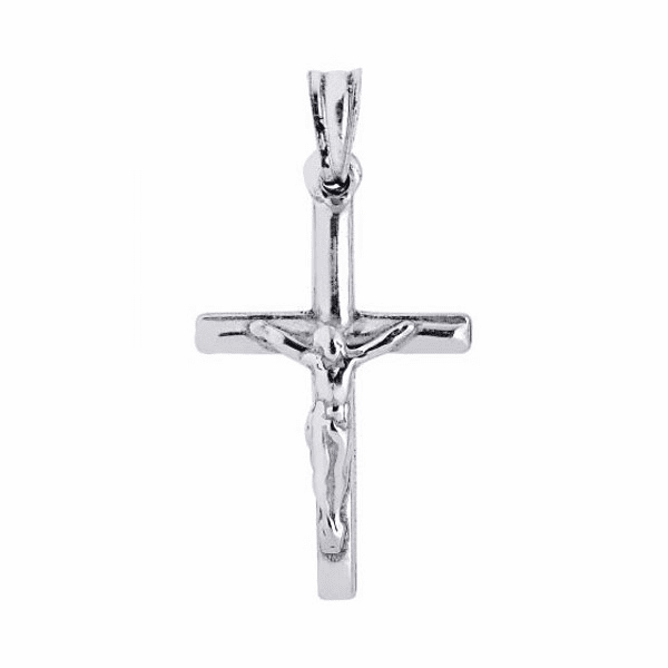 Silver with Rhodium Finish 20X37mm Shiny Cross Pendant with Figurine