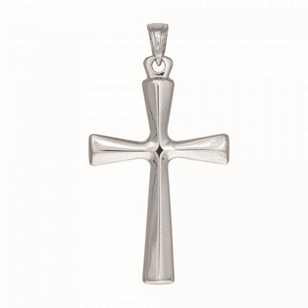 Silver with Rhodium Finish 4.45X20X35mm Shiny Cris Cross Stamp Pendant