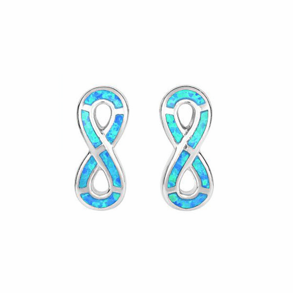 Silver with Rhodium Finish Created Opal Infinity Post Earring