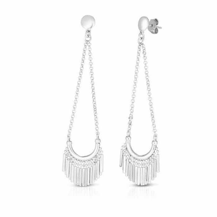 Silver with Rhodium Finish Diamond Cut Earring with Push Back Clasp