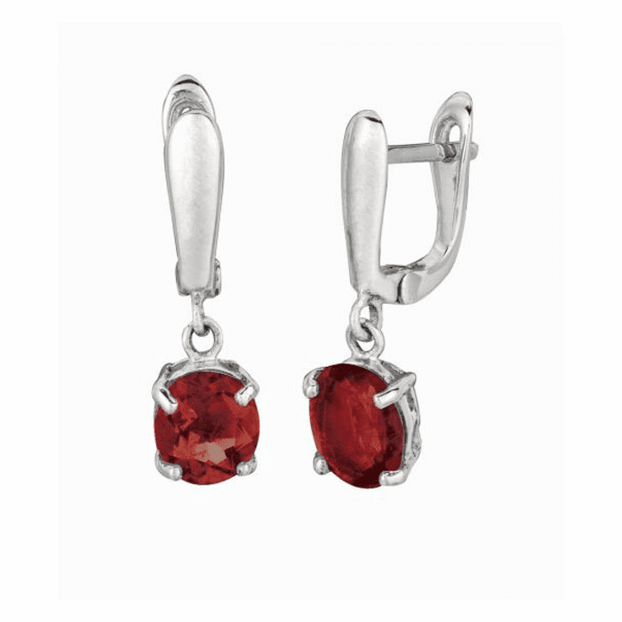 Silver with Rhodium Finish Drop Earring with 9X7mm Garnet
