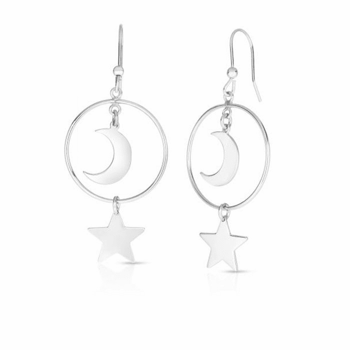 Silver with Rhodium Finish Earring with Euro Wire Clasp - AGER8040