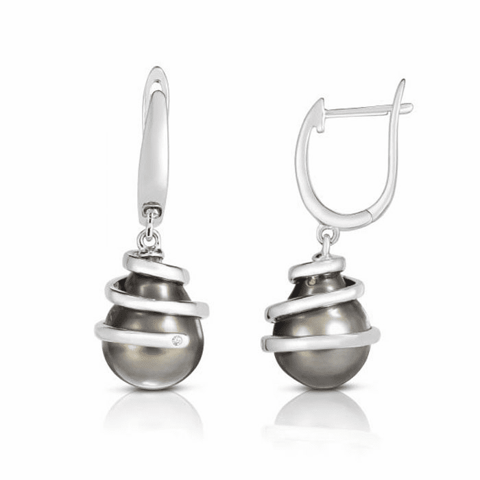 Silver with Rhodium Finish Earring with Lever Back Clasp