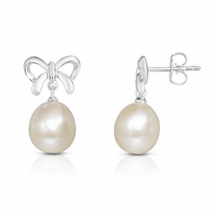 Silver with Rhodium Finish Earring with Push Back Clasp - AGER7754