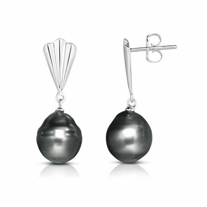Silver with Rhodium Finish Earring with Push Back Clasp - AGER7755