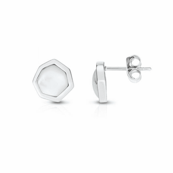 Silver with Rhodium Finish Earring with Push Back Clasp - AGER7902