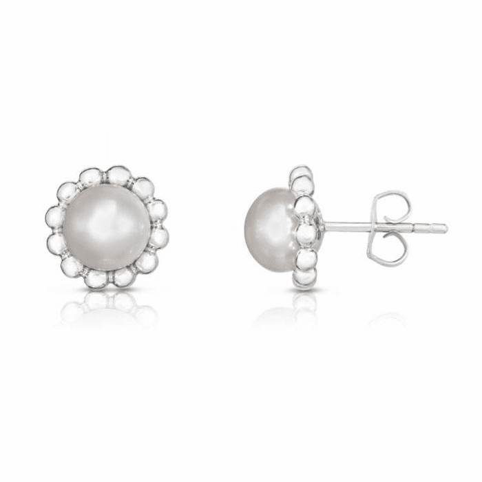 Silver with Rhodium Finish Earring with Push Back Clasp - AGER8100