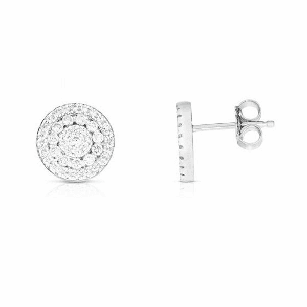 Silver with Rhodium Finish Earring with Push Back Clasp - AGER8174