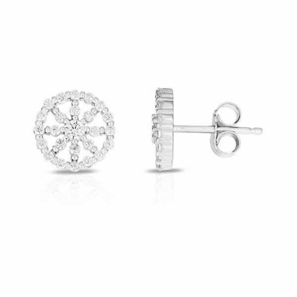 Silver with Rhodium Finish Earring with Push Back Clasp - AGER8175