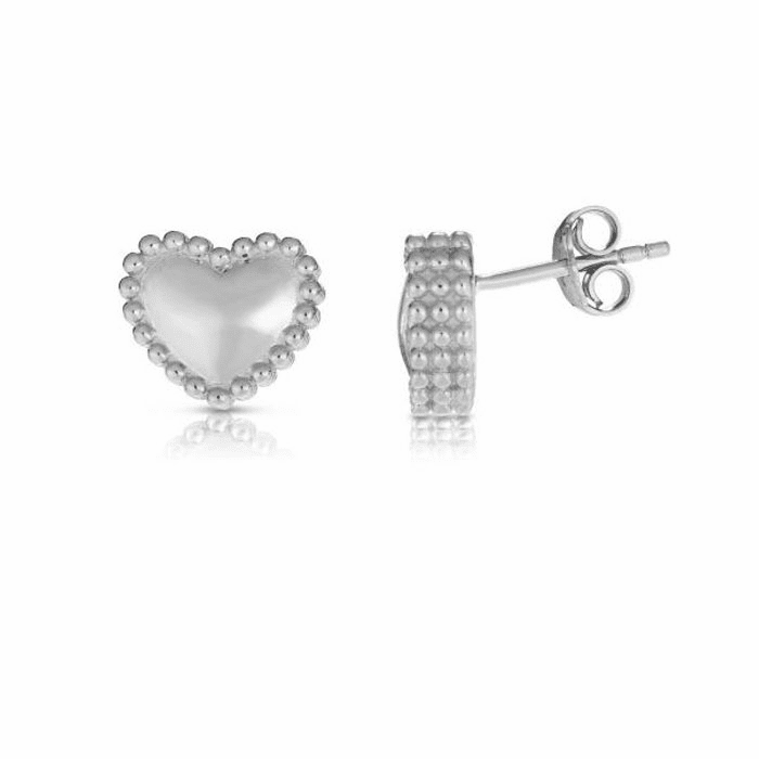 Silver with Rhodium Finish Earring with Push Back Clasp - AGER8177