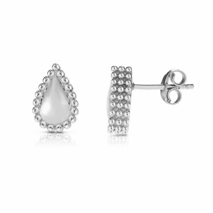 Silver with Rhodium Finish Earring with Push Back Clasp - AGER8178