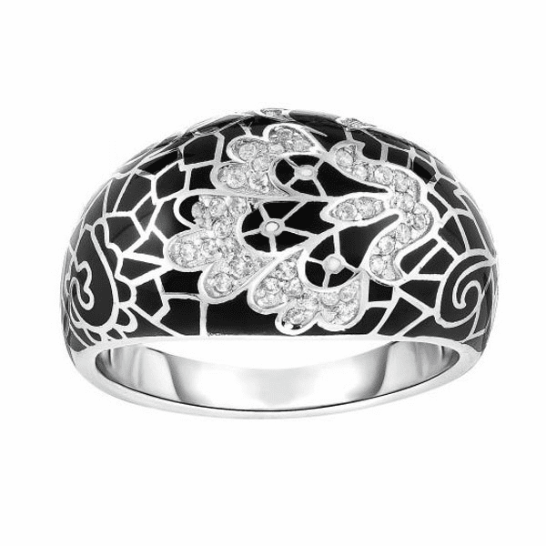 Silver with Rhodium Finish Fancy Ring - AGR6531