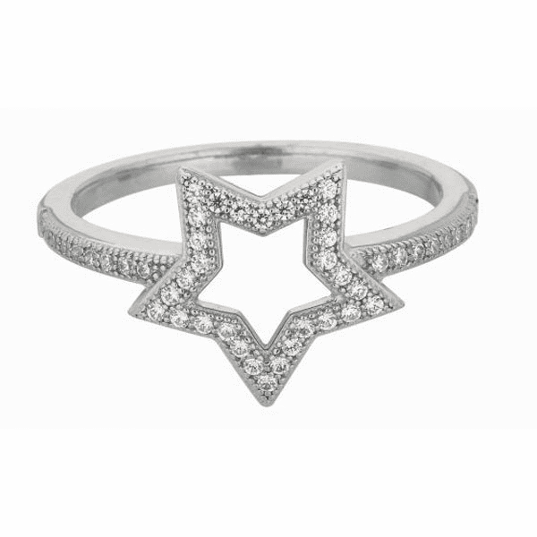 Silver with Rhodium Finish MicRopeve Cubic Zirconia Star Ring Size-06