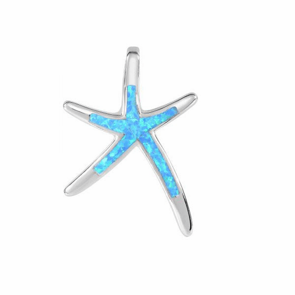 Silver with Rhodium Finish Non-Opal All Shiny Starfish Pendant