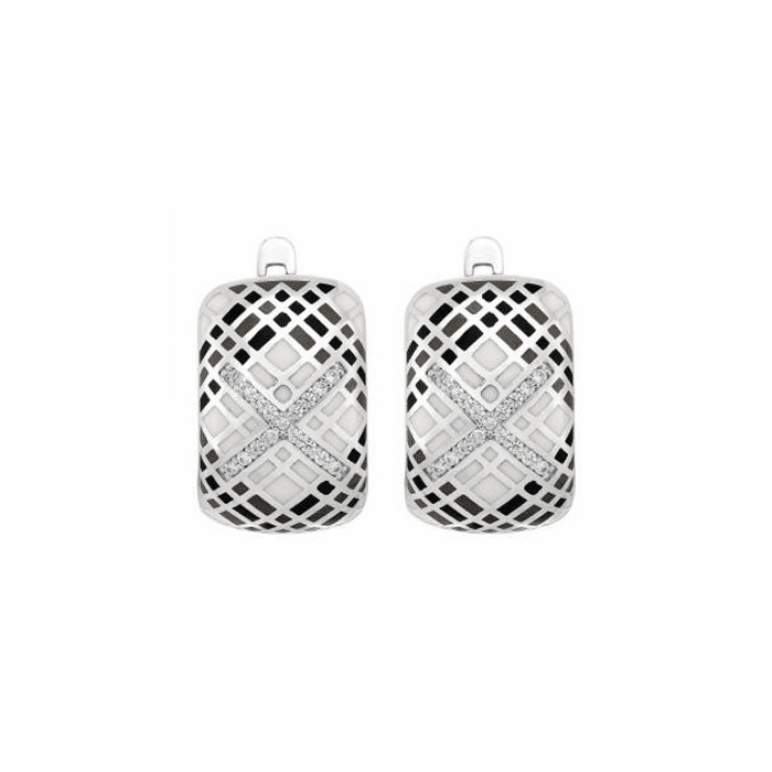 Silver with Rhodium Finish Rectangular Drop Earring with Snap Clasp