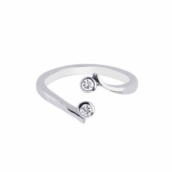 Silver with Rhodium Finish Shiny By Pass Type Toe Ring with 2-White CZ