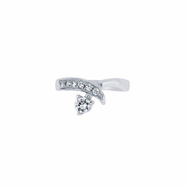 Silver with Rhodium Finish Shiny By Pass Type Toe Ring with CZ
