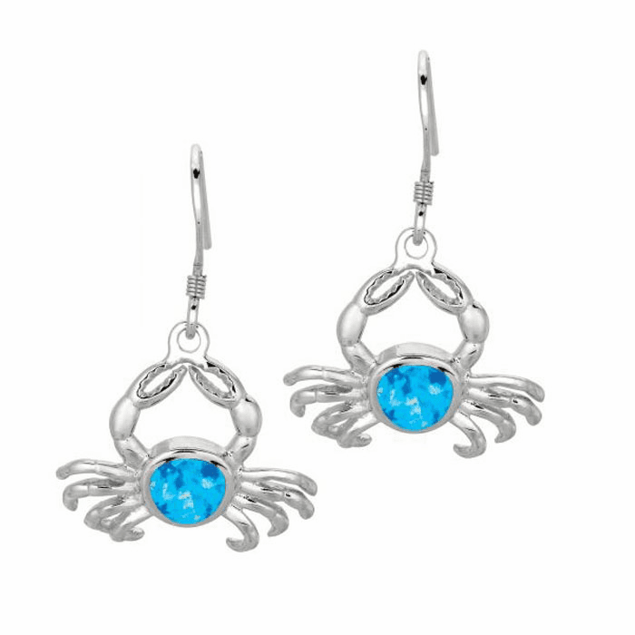 Silver with Rhodium Finish Shiny Created Opal Crab Drop Earring
