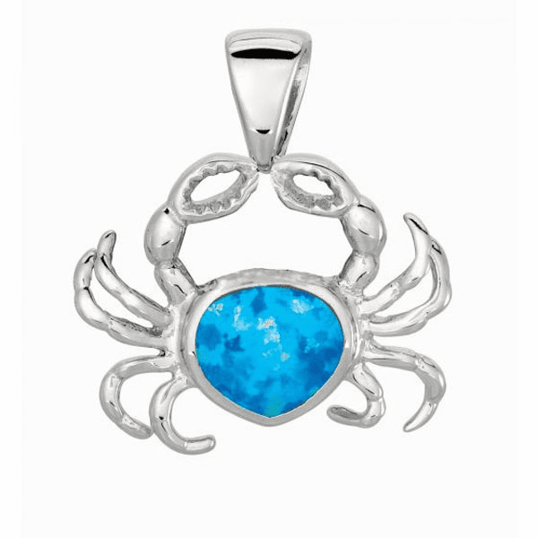 Silver with Rhodium Finish Shiny Created Opal Crab Pendant
