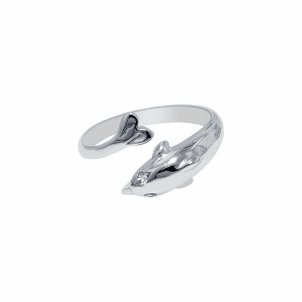 Silver with Rhodium Finish Shiny Cuff Like Dolphin Top Toe Ring
