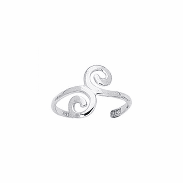 Silver with Rhodium Finish Shiny Cuff Like Toe Ring with Swirl Top