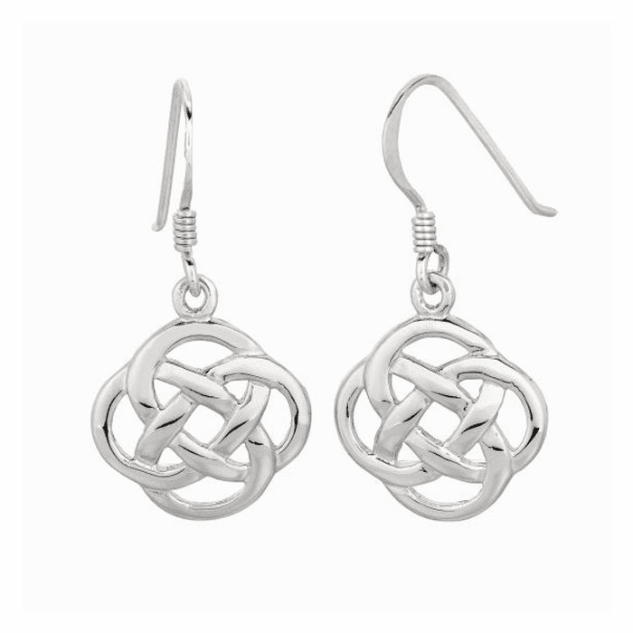 Silver with Rhodium Finish Shiny Four Circle Interlock Drop Earring