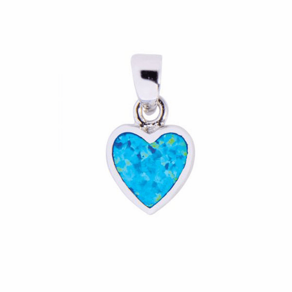 Silver with Rhodium Finish Shiny Heart Pendant with Created Opal