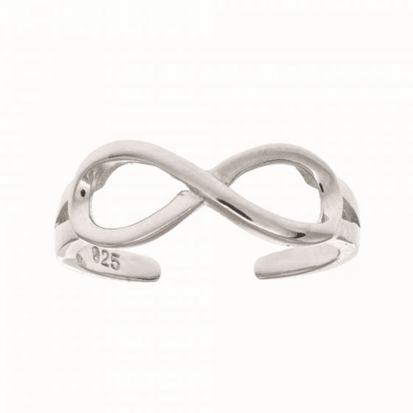 Silver with Rhodium Finish Shiny Infinity Top Fancy Toe Ring